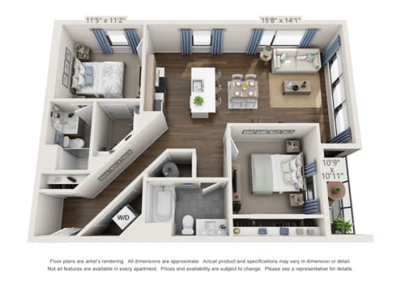 corner unit floor plan for apartment building in denver