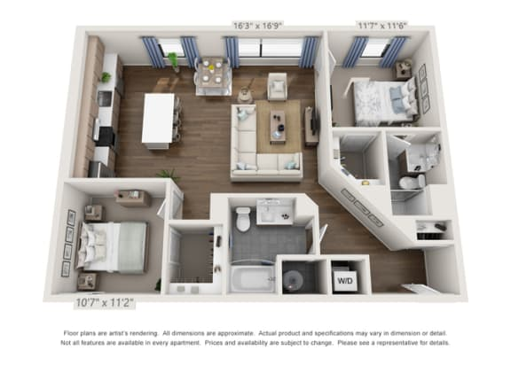 two bedroom apartment unit floor plan in denver