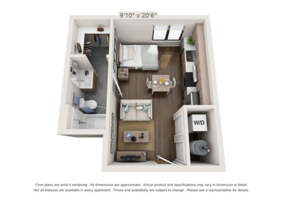 studio apartment unit at luxury apartment building in denver