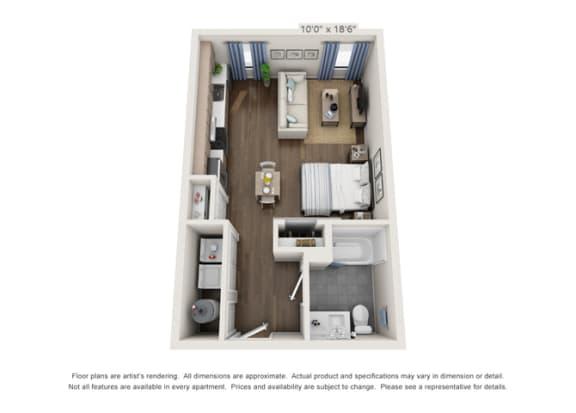 contemporary apartment floor plan in denver colorado