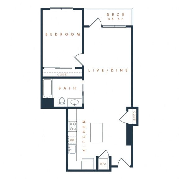 1E – 1 Bedroom 1 Bath Floor Plan Layout – 799 Square Feet