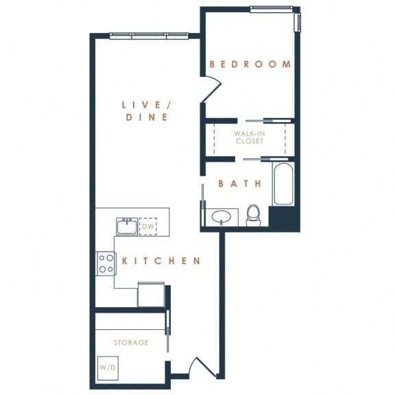 1I – 1 Bedroom 1 Bath Floor Plan Layout – 773 Square Feet