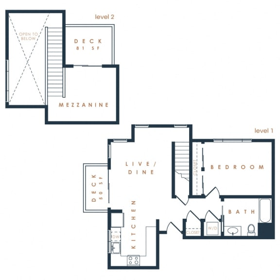 1N Loft – 1 Bedroom 1 Bath Floor Plan Layout – 940 Square Feet