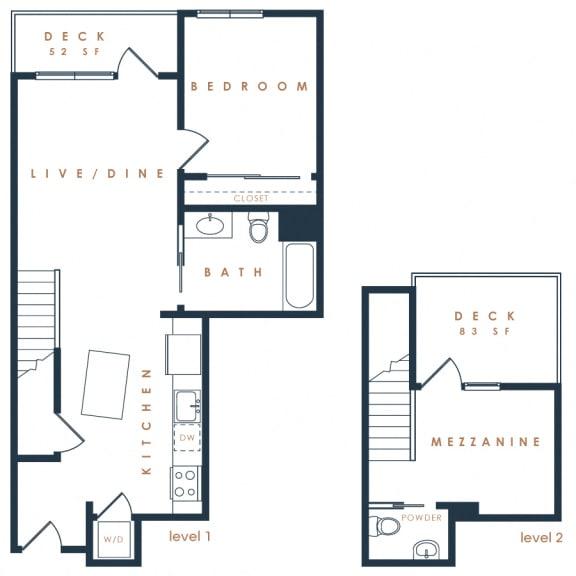 2E Penthouse Loft – 2 Bedroom 1.5 Bath Floor Plan Layout – 1026 Square Feet