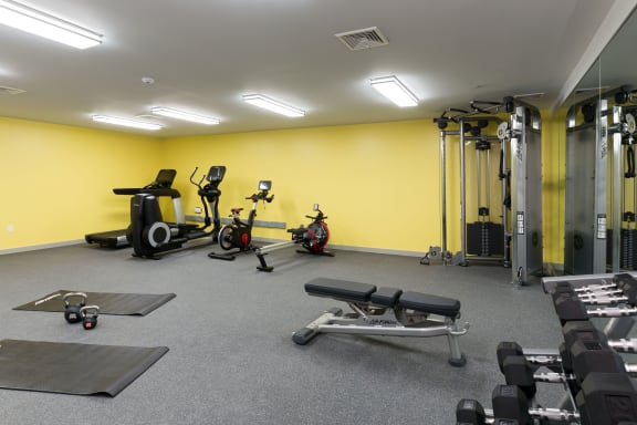 Fitness center with yoga/stretch area at 735 Truman, Massachusetts