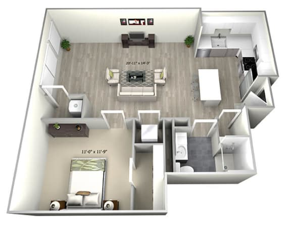 Floor Plan  1 Bed 1 Bath TruaK Floor Plan at 735 Truman, Massachusetts