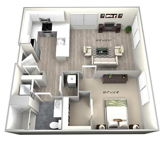1 Bed 1 Bath TruaM Floor Plan at 735 Truman, Massachusetts, 02136
