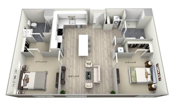 2 Bed 2 Bath TrubF Floor Plan at 735 Truman, Hyde Park, MA, 02136
