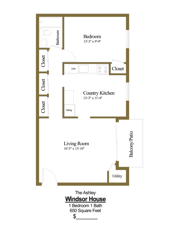 1 bedroom, 1 bathroom apartment at Windsor House Apartments in Middle River, MD