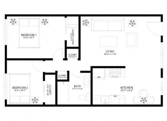 Floor Plan  Holgate Lofts Two Bedroom Floor Plan