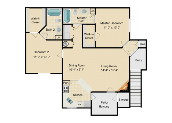Floor Plan  Two Bedroom