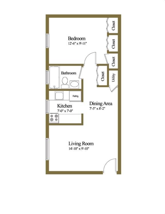 Traditional Studio 1 bedroom 1 bathroom floor plan at Hyde Park Apartments in Essex, MD