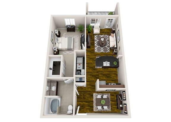 1 Bed / 1 Bath Floor Plan