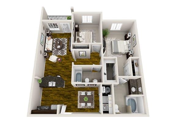 2 Bed / 2 Bath Floor Plan