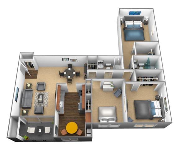 Floor Plan  3 bedroom 2 bathroom floor plan at Ivy Hall Apartments in Towson MD