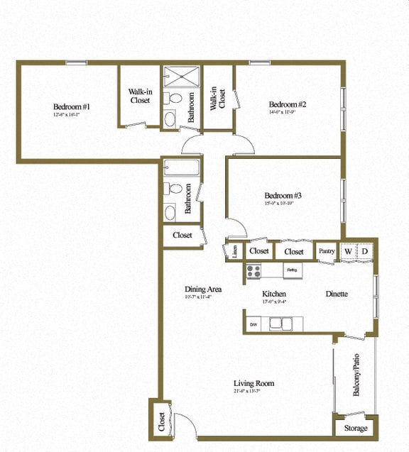 3 bedroom 2 bathroom floor plan at Ivy Hall Apartments in Towson MD