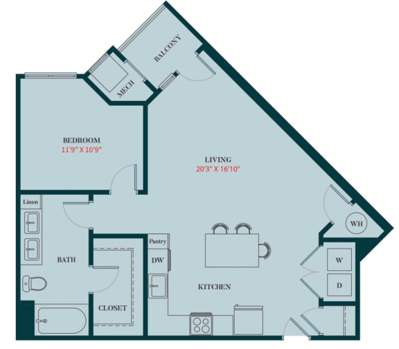 A4 - 1 Bedrooms 1 Bath Apartment Floor Plan Design - 792 sq. ft. - Apartments in Des Plaines