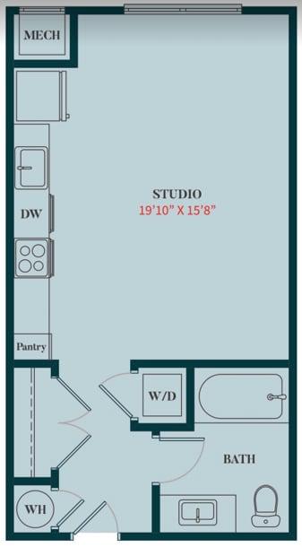 S2 - Studio Apartment Floor Plan Design - 499 sq. ft. - Apartments in Des Plaines
