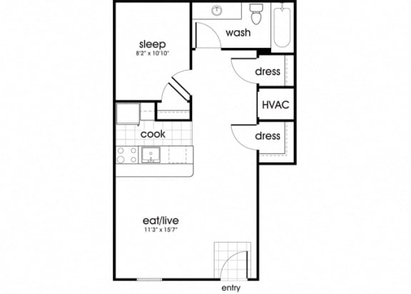 Floor Plan  A1 at Whispering Oaks Apartments in Portsmouth VA