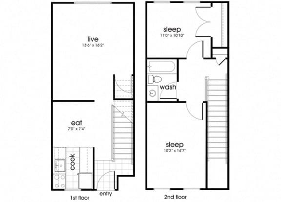 Floor Plan  B1TH at Whispering Oaks apartment homes in Portsmouth VA