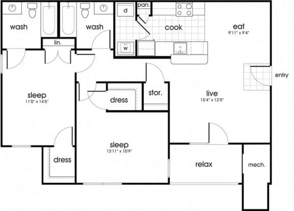Floor Plan  B2 Floorplan for Whispering Oaks Apartment homes in Portsmouth, VA