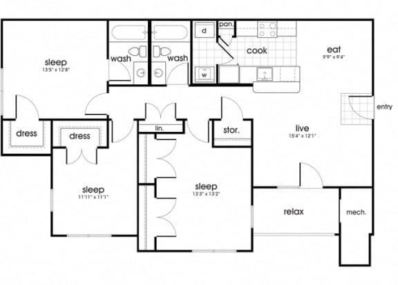 Floor Plan  C1 Floorplan for Whispering Oaks apartment homes in Portsmouth, VA