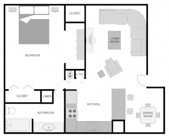 Floor Plan  Pecan Acres Apartments in Lake Charles, LA 1x1 Floor Plan