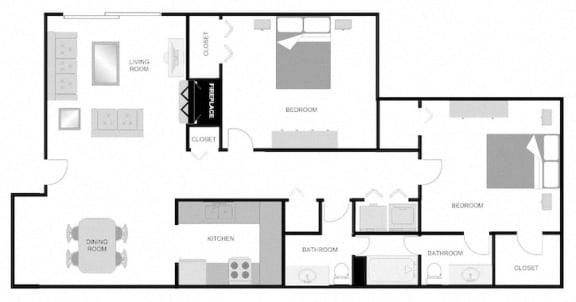 Floor Plan  Pecan Acres Apartments in Lake Charles, LA 2x1.5 Floor Plan