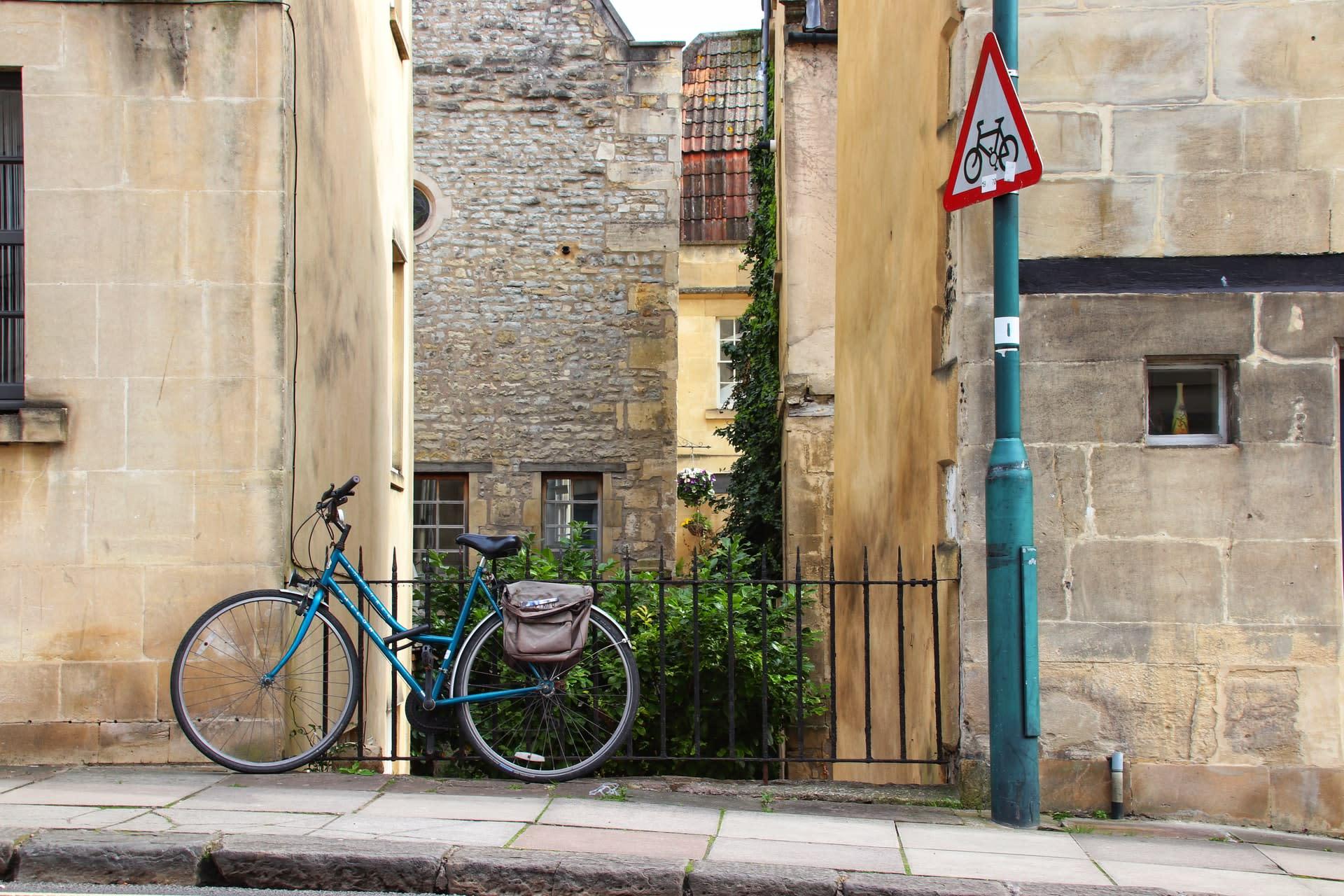 Bike parked on pavement in Bath