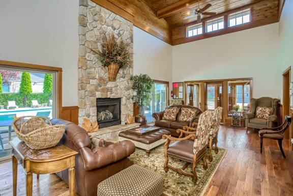 Ridgewood Clubhouse with Fireplace and Seating