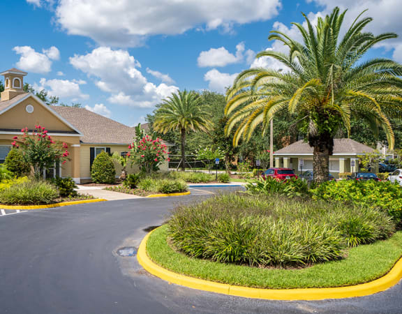Manicured Landscaping in Front of The Carrington at Four Corners Clubhouse