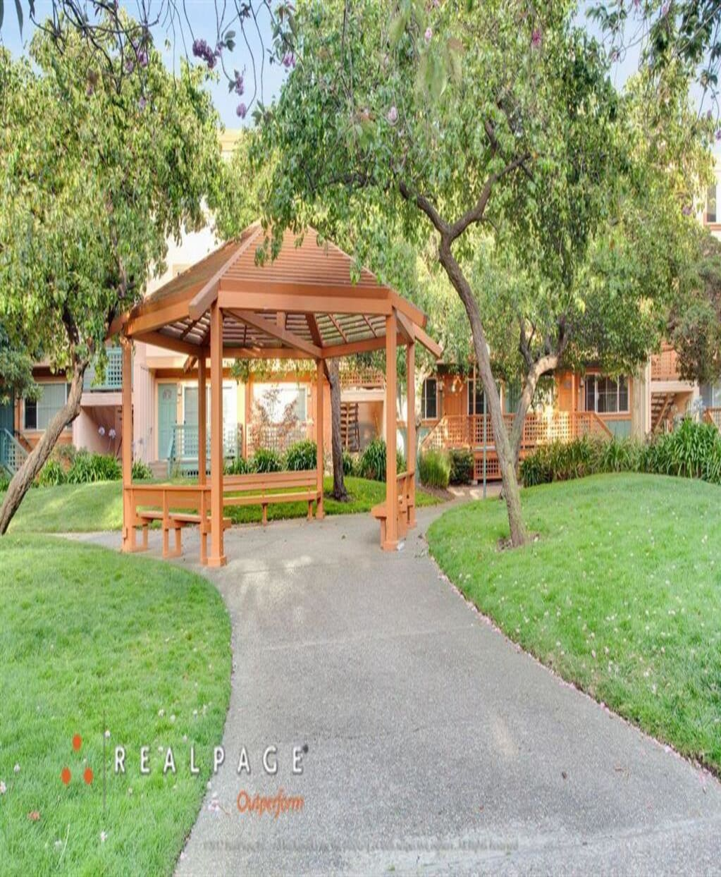 Gazebo surrounded by trees, Peninsula Pines Apartments, CA, 94080