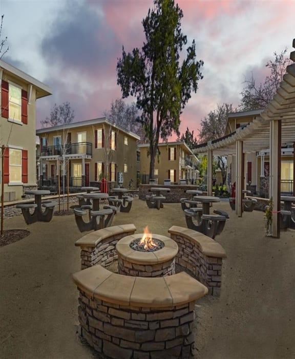 stone firepit, Parkside Apartments, Davis, California