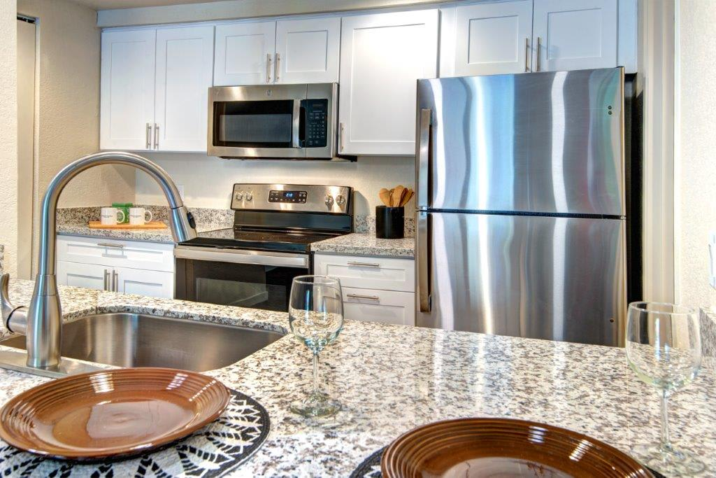 12 Central Square Apartments Model Kitchen Counters and Appliances
