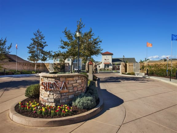 Welcome sign at Siena Apartments in Santa Maria, CA