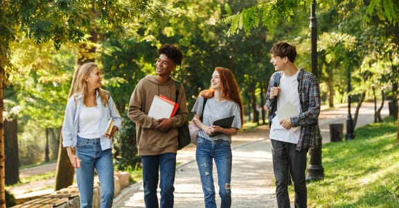 Students Walking on Campus   J Street