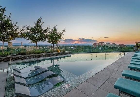 Invigorating Infinity Edge Pool with Stunning Views at 1000 Speer by Windsor, 1000 Speer Blvd., Denver