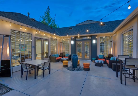 Outdoor Lounge Space Extending from Clubhouse at Pavona Apartments, California, 95112