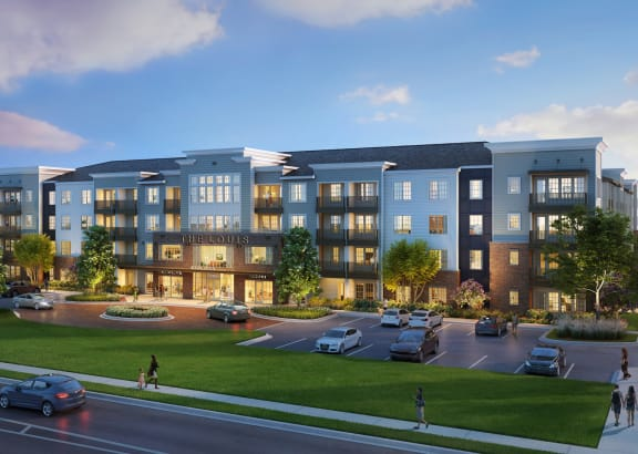 Exterior building rendering at The Louis Apartment Flats Louisville, KY  40241