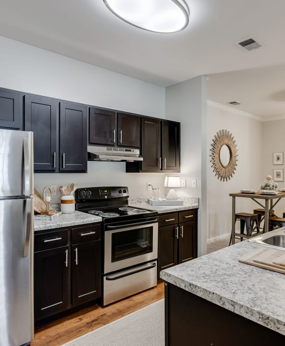 Kitchen Featuring Dark Cabinetry, Brushed Nickel Hardware & Stainless Steel Appliances
