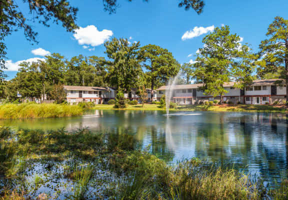 Overlooking the pond towards the 2-story apartment buildings at Ascend at Savannah.