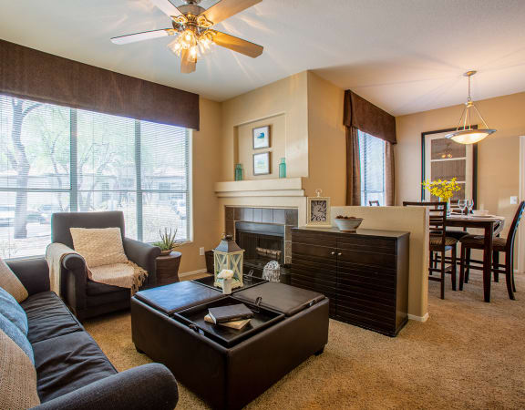 Living Room with Fireplace at Bear Canyon Apartments in Tucson Arizona 2021