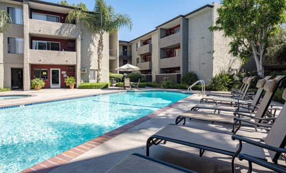 Swimming Pool With Relaxing Sundecks  at Nortview-Southview Apartment Homes, Reseda, 91335