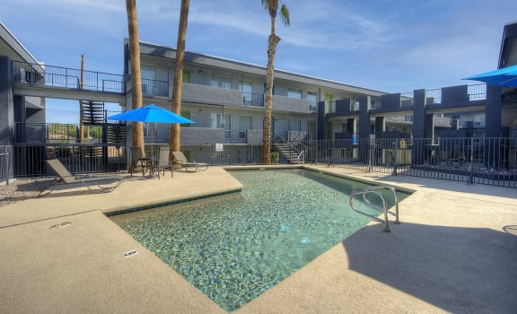 Lounge area and pool at Radius Apartments in Phoenix AZ Nov 2020
