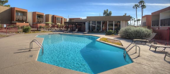 Pool and pool patio at Claremont Villas Apartments in Tucson AZ November 2020