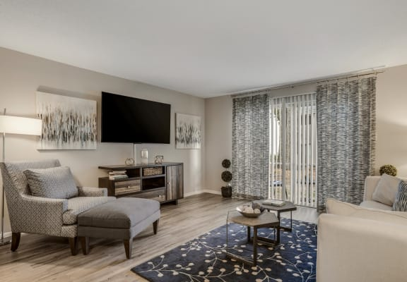 Model living room with a sliding glass door is furnished with a couch and chair with a rug on wood-style flooring.
