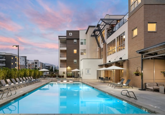 Sparkling Pool at Parc West Apartments, Draper, UT, 84020