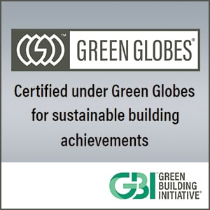 logo for Green Globes stating it's certified under green globes for sustainable building achievements