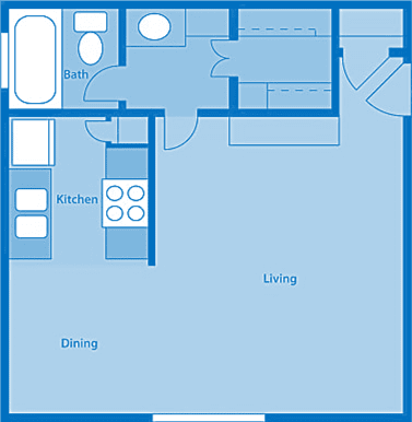 Rio Vista Studio Apartment Layout image.
