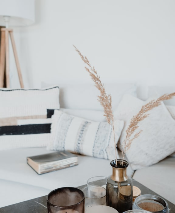 White couch with throw pillows